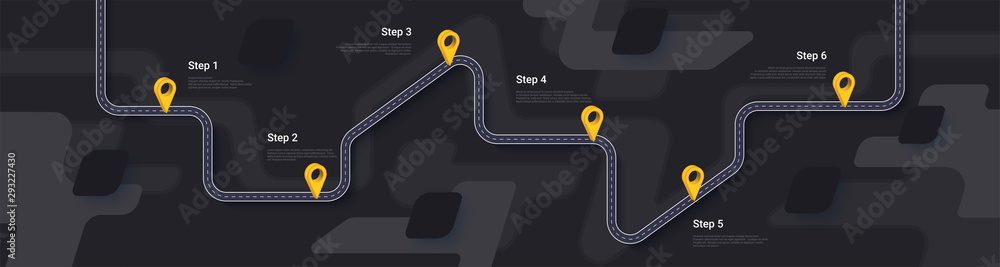 Road map and journey route infographics template. Winding road timeline illustration. Dark theme. Flat vector illustration. Eps 10