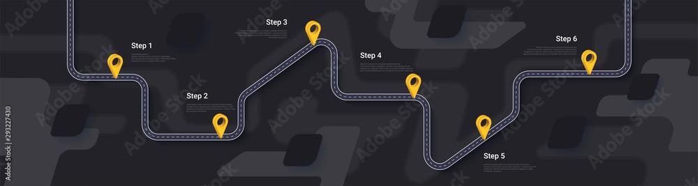 Fototapeta Road map and journey route infographics template. Winding road timeline illustration. Dark theme. Flat vector illustration. Eps 10