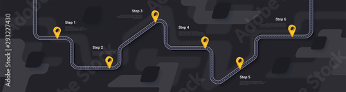 Fotomural Road map and journey route infographics template