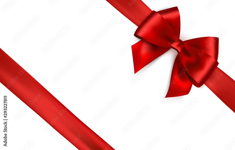 Fototapeta Shiny red satin ribbon on white background. Vector red bow and ribbon