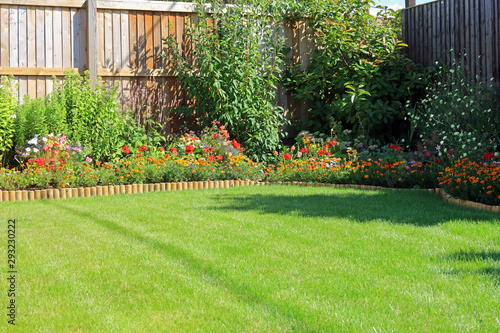 Obraz Summer Flower Borders Surrounding A Grass Lawn In An Enclosed Home Garden. - fototapety do salonu
