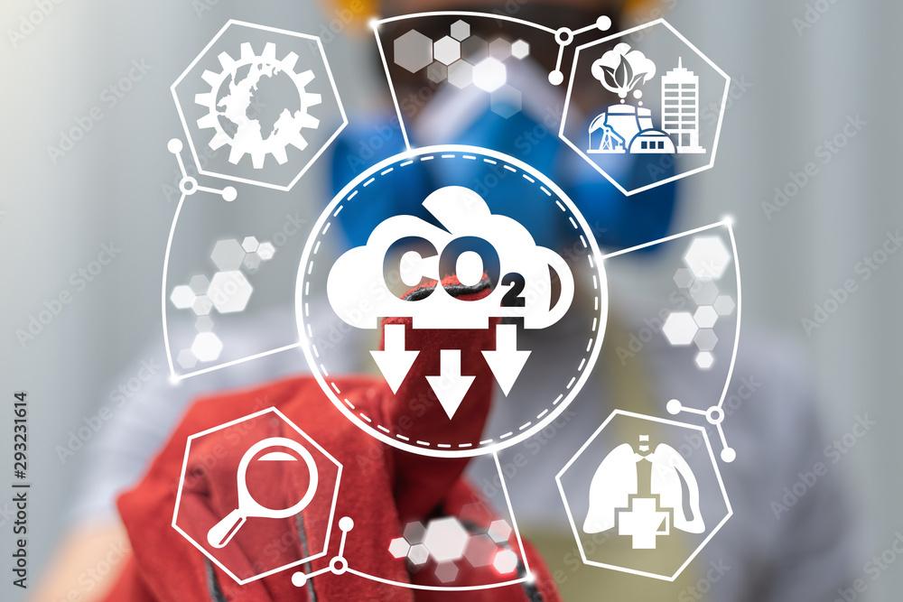 Fototapeta Ecology CO2 Carbon Dioxide Emissions Reduction Industrial concept.