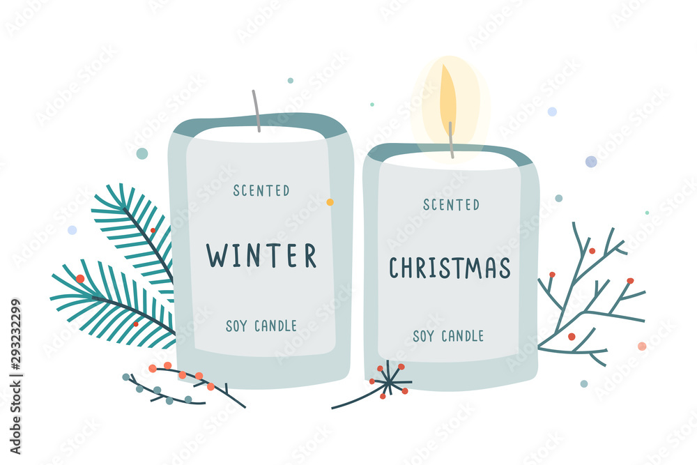 Fototapety, obrazy: Soy candle in glass jar decorated with fir branches, soy wax scented with christmas and winter mood scent. Idea of hygge comfort and coziness. Hand drawn vector illustration.