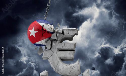 Photo  Cuba flag ball smashing a European Euro currency symbol