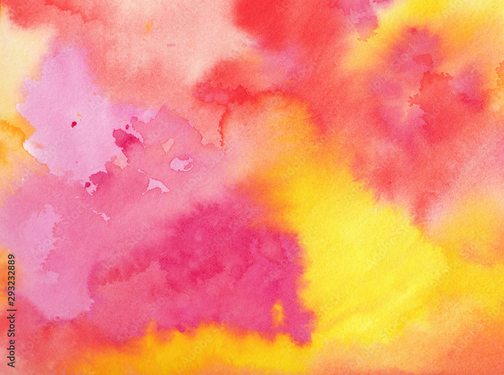 Fototapeta watercolor background in pink orange yellow and purple colors in a beautiful abstract painted sunrise or sunset with clouds in artist design