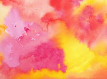 Watercolor Background In Pink Orange Yellow And Purple Colors In A Beautiful Abstract Painted Sunrise Or Sunset With Clouds In Artist Design