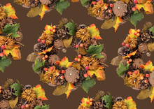 Autumn Traditional Wreath. Autumn Wreath With Pumpkin, Autumn Leaves, Red Berries, Acorns On A Dark Background. Autumn Holiday, Fall, Thanksgiving, Halloween Concept Pattern