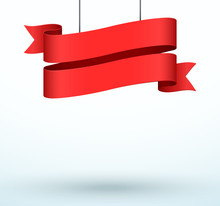 Hanging Title Ribbon 2 Line Red Realistic 3d Banner