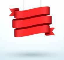 Hanging Title Ribbon 3 Line Red Realistic 3d Banner