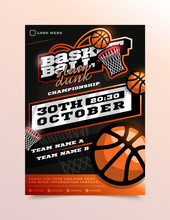 Basketball Sport Flyer Vector. Vertical Card Poster Design For Sport Bar Promotion. Tournament Flyer. Invitation Illustration