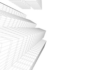 Abstract linear architecture 3d illustration