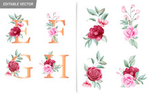 Floral Alphabet Set With Watercolor Flowers Elements. Letters E, F, G, H With Watercolor Botanical Composition. Flower Bouquet Illustration For Wedding Invitation Decoration Design