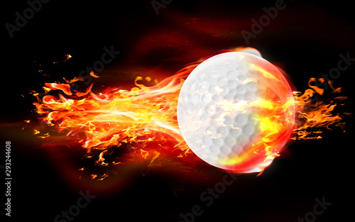 Golf Ball is Burning in Flames Against Black Background