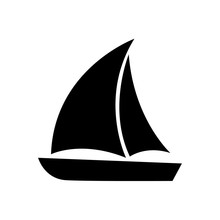 Sailboat Icon, Logo Isolated O...