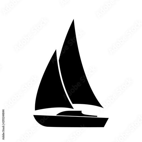 Fototapeta Sailboat icon, logo isolated on white background