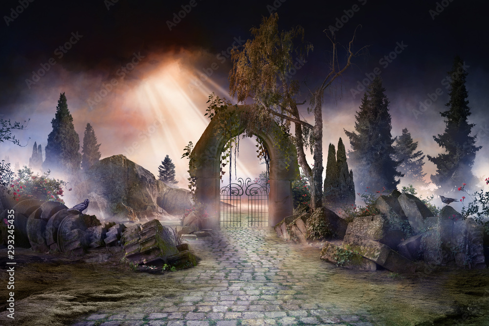 Fototapeta wuthering heights, dark, atmospheric landscape with archway and fir trees, sunbeams after thunderstorm