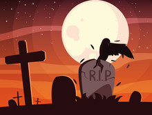 Halloween Grave Vector Design ...
