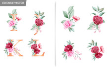 Floral Alphabet Set With Water...
