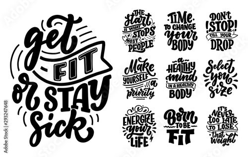 Abstract lettering set about sport and fitness for poster or print design Fototapet