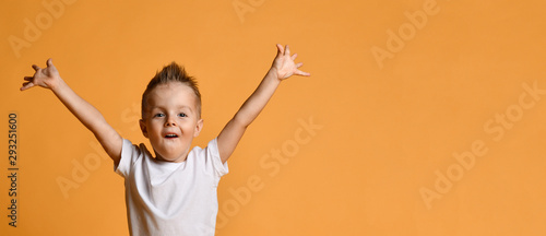 Fotografiet Young boy kid in white t-shirt celebrating happy smiling laughing with hands spr
