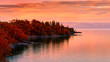 canvas print picture Sunset on Lake in Autumn