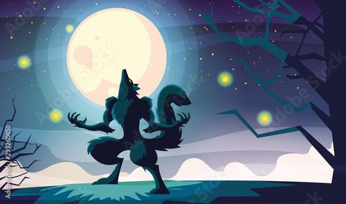 Fotografia Halloween werewolf vector design icon