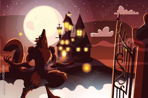 Halloween werewolf vector design icon Fototapeta