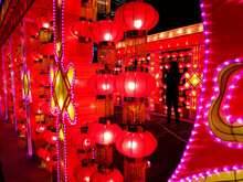Chinese Red Lanterns Displayed In Vancouver, British Columbia, Canada.
