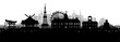 Silhouette panorama view of Sapporo city skyline with world famous landmarks of Japan in paper cut style vector illustration.