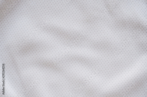 White fabric sport clothing football jersey with air mesh texture background - 293264256