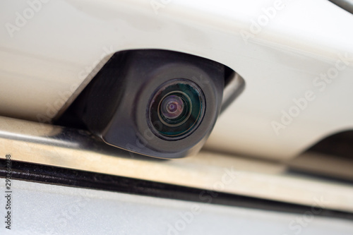 Carta da parati car rear view camera close up for parking assistance