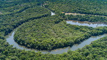 Aerial View Of A Meandering Am...