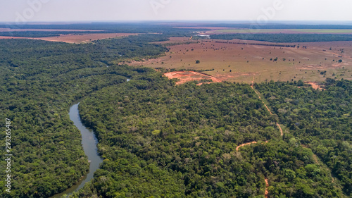 Vászonkép  Aerial view of a meandering Amazon tributary river, roads through rainforest and