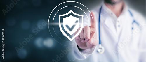 Photo  doctor clicks antivirus icon on screen