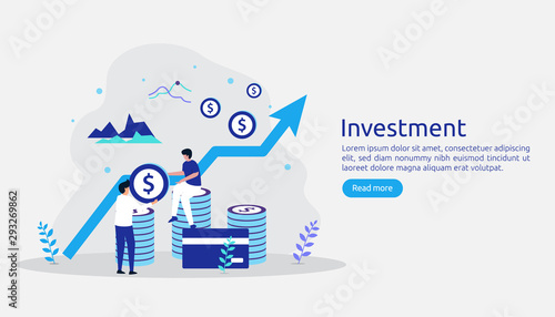 Fototapeta Business investment concept. Returns on investment graphic chart. Financial growth rising up to success. web landing page template, banner, presentation, social, and print media. Vector illustration obraz