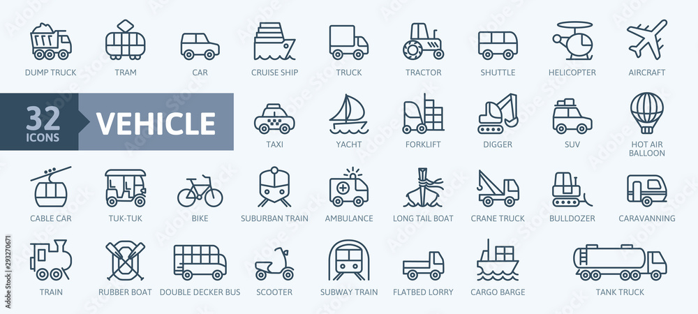Fototapeta Transport, vehicle and delivery elements - minimal thin line web icon set. Outline icons collection. Simple vector illustration.