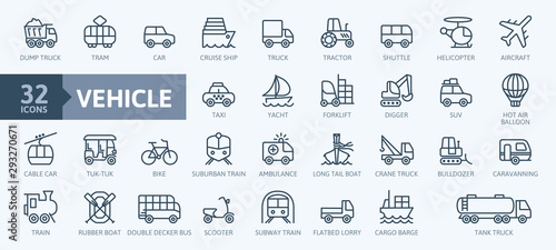 Transport, vehicle and delivery elements - minimal thin line web icon set Canvas Print