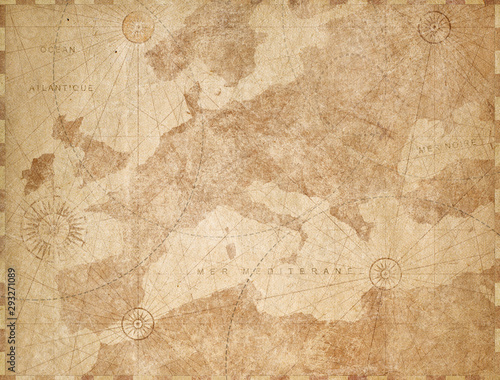Vintage Europe map retro background Wallpaper Mural