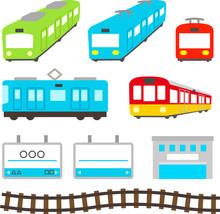 かわいい電車のイラストセット