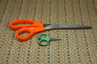 Set of Old and dirty scissors (Little shears or clippers) used for cutting paper or yarn.
