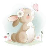 Fototapeta Fototapety na ścianę do pokoju dziecięcego - Cute Bunny and the Butterfly