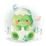 Fototapeta Dinusie - Cute Baby Dino in Egg
