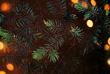 Creative Layout Made Of Christmas Tree Branches With Abstract  Golden Bokeh Lights. Festive Xmas Wide Wallpaper