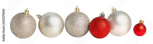 Fototapeta Christmas balls in a row Isolated