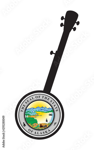 Traditional 5 String Banjo Silhouette With Alaska State Seal Icon Canvas Print