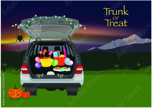 Photo sur Toile Cartoon voitures Trunk or Treat Halloween