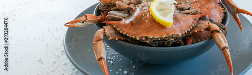 Cooked red crabs, delicious healthy seafood Canvas Print