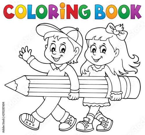 Foto op Canvas Voor kinderen Coloring book children holding pencil