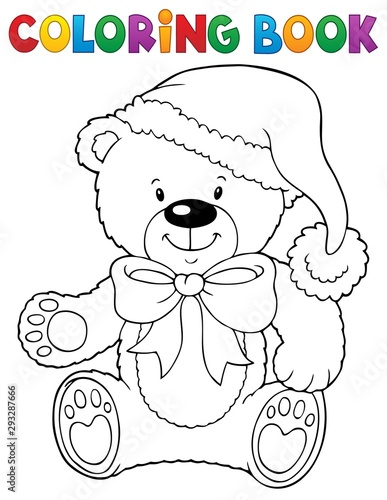 Wall Murals For Kids Coloring book Christmas teddy bear topic