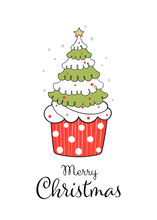 Draw Christmas Tree On Red Cupcake Isolated On White.
